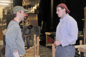 "Director Sean Ogren (left) and Master Carpenter Ben Aylesworth at ""Full Circle"" set construction. Just a guess: Whatever the question was, the answer appears to be ""No""."
