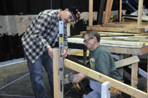 &quot;Does this look level?&quot; Pat Daly and Alan Bolds work on the &quot;Full Circle&quot; set.