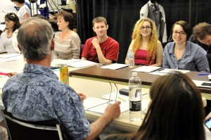 "Susan Hajny, Sharon Voss, Leah Rae Witt, Garrett Ard, Nikki Wilson, Katie Kanturek, and Andrew Trygstad at the ""Romeo & Juliet"" read-through May 1, 2013. Photo by Steven Merkel"
