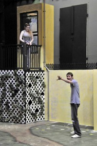 Nikki Wilson as Juliet and Garrett Ard as Romeo rehearse the balcony scene June 16. Photo by Steven Merkel.